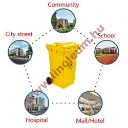 240 literes kerekes műanyag szemetes kuka – sárga hulladéktároló